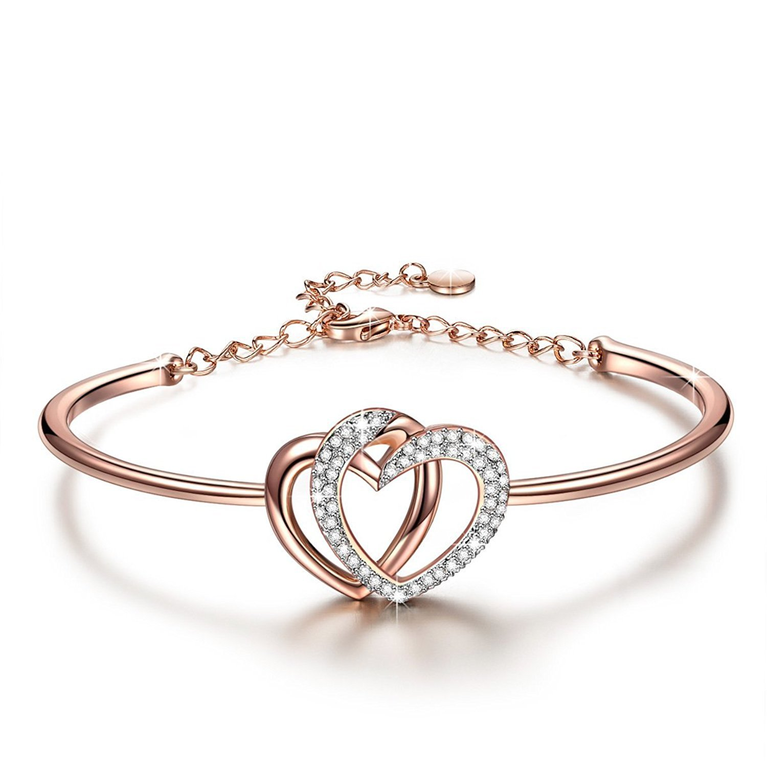 6c91f4bd526 Yellow Chimes Rose Gold Twin Heart with Crystals Bangle Bracelet for Women  and Girls  YELLOW CHIMES  Amazon.in  Jewellery