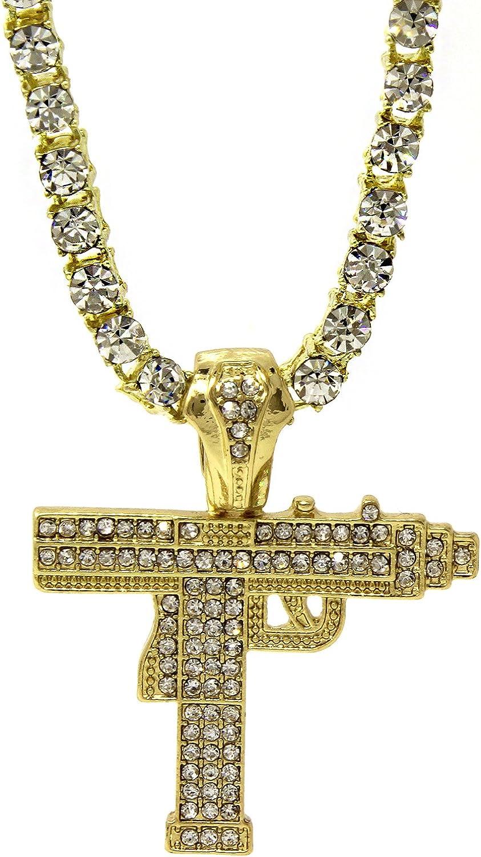 QTMY 18K Gold Plated Stainless Steel Diamond Cross Pendant Necklace for Men Women,Hip Hop Punk Rapper Jewelry