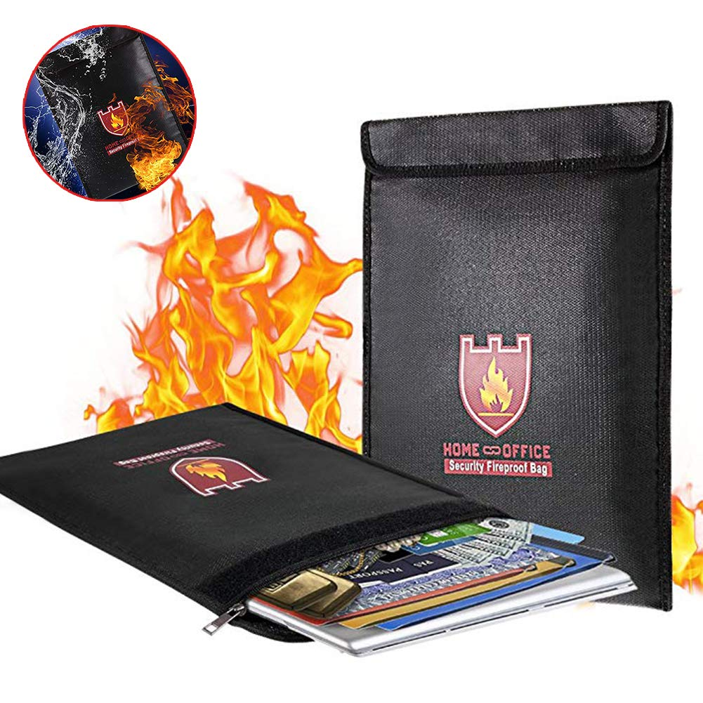 Fireproof Document Bag Zipper Enclosure, Fire Water Resistant Cash Envelope Holder,Silicone Coated, Perfect for Money/Passport/ Legal Documents Protection