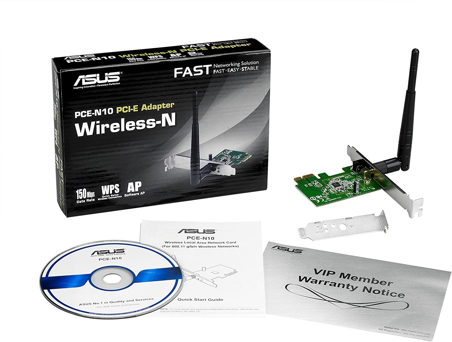 Include Full Height and Low Profile bracket with PCI-E Interface WPS Button Support Wireless-N Network Adapter ASUS PCE-N10 150Mbps Transmit // 150Mbps Receive