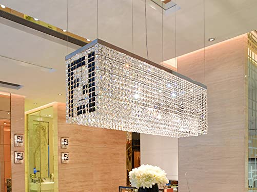 7PM Modern Contemporary Luxury Linear Rectangular Island Dining Room Crystal Chandelier Lighting Fixture Over Table