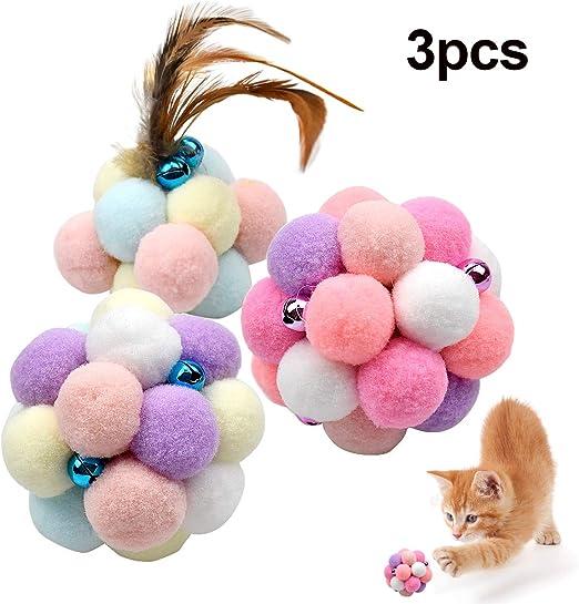 Natuce 3PCS 8.5CM Coloridos Pompones Balls Campana, Pluma Juguetes ...