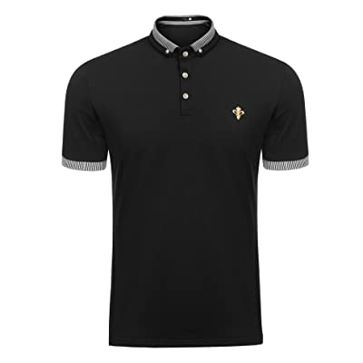 COOFANDY Mens Short Sleeve Polo Shirts Slim Fit Casual Striped Cotton Polo T Shirt