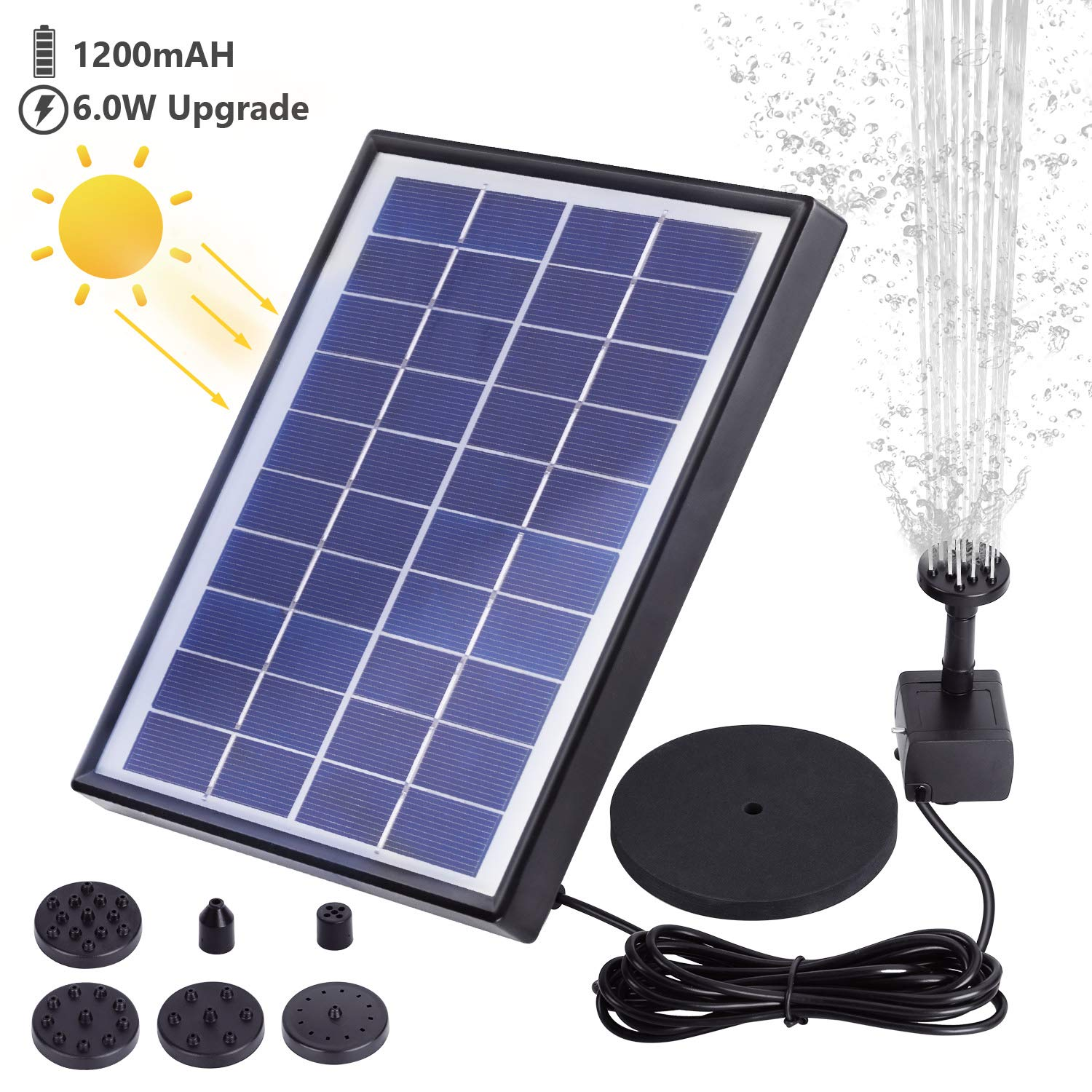 AISITIN 6.0W Solar Fountain Pump, Solar Water Pump Floating Fountain Built-in 1000mAh Battery, with 6 Nozzles, for Bird Bath, Fish Tank, Pond or Garden Decoration Solar Aerator Pump