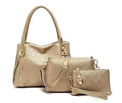 e0edd1baf6e Di Grazia Women s Synthetic Gold 3 In 1 Combo Of Shoulder Bag , Satchel    Handbag (Dg-Gold ,Gold-3In1-Combo-Bag)  Amazon.in  Shoes   Handbags