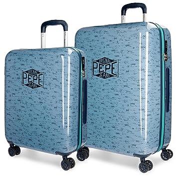 Pepe Jeans Pierce Juego de Maletas, 69 cm, 119 litros, Azul: Amazon.es: Equipaje