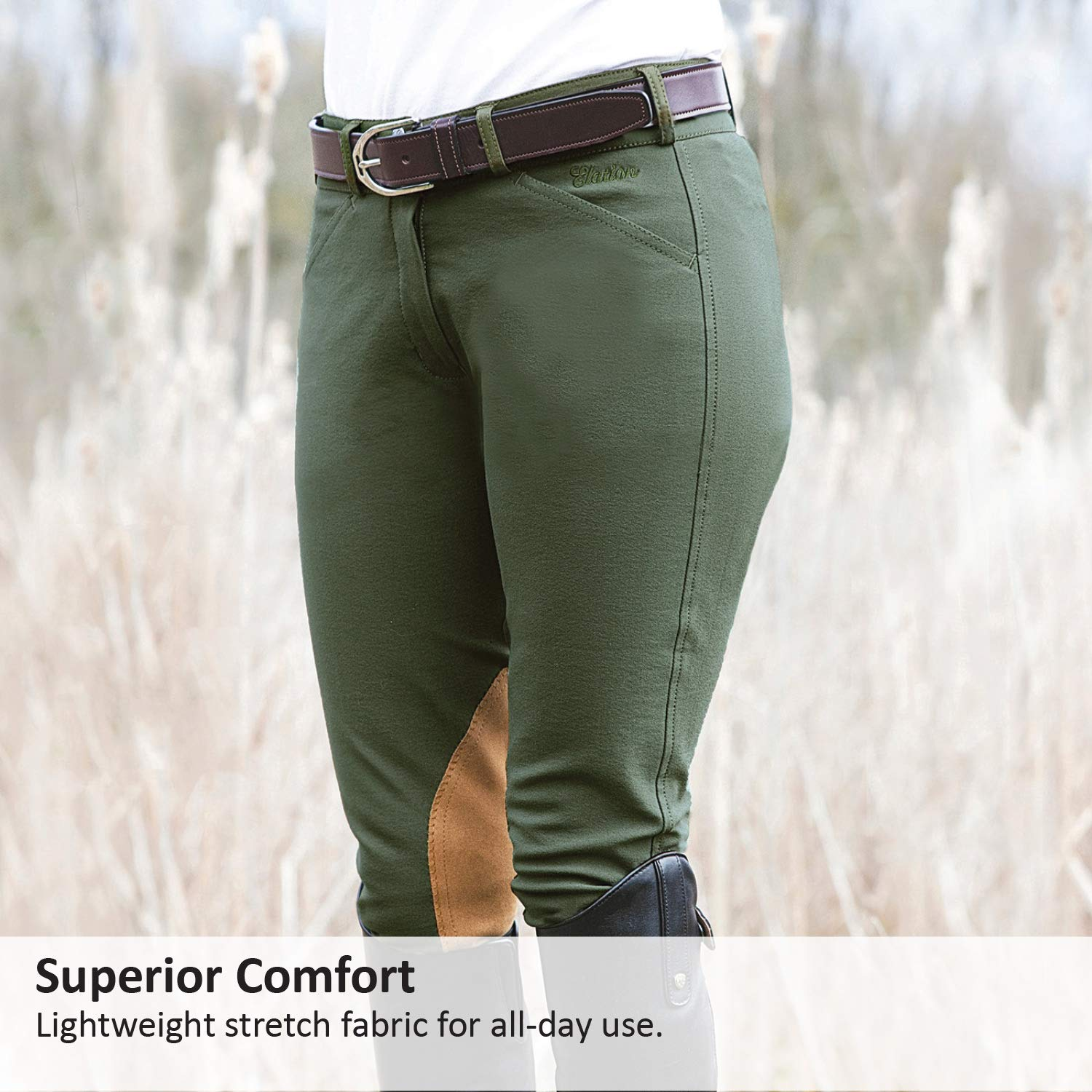 Comfort and Style ELATION Show Breeches for Women Platinum Chelsea Ladies Hunter Breeches for Incredible Performance Breeches