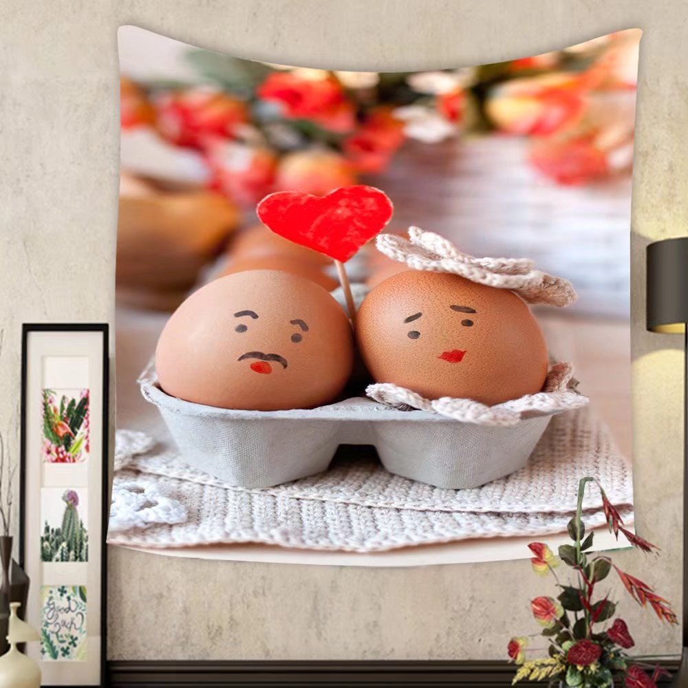 Jacquelyn A. Velasquez Custom tapestry sweet couple egg staying close to each other with love