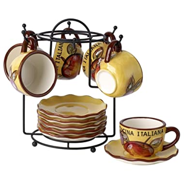 Cucina Italiana Ceramic Espresso and Coffee Cups and Saucers 13 Pc Set with Rack