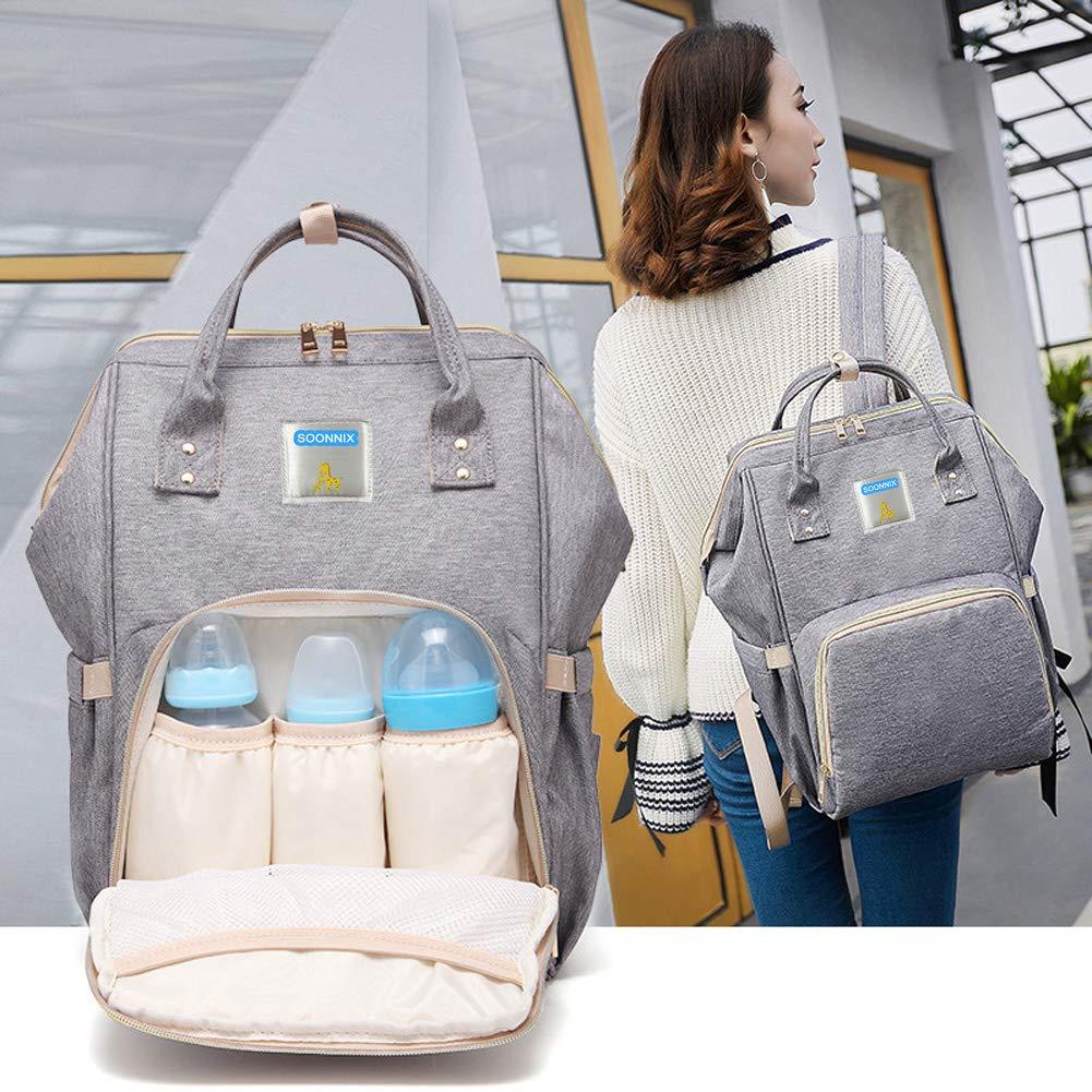 Amazon.com: soonnix bolsa de pañales mochila, multifunción ...