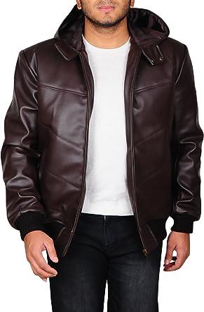 Men/'s Bomber Puffer Padded Hooded Genuine Black Sheepskin Leather Jacket