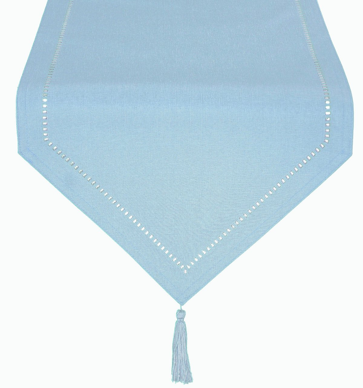 Xia Home Fashions Melrose Easy Care Cutwork Hemstitch 16 by 72-Inch Table Runner with Tassel, Teal by Xia Home Fashions