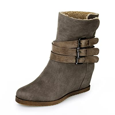 952eecd39842 Alexis Leroy Women and Girls  Inside Wedges Triple Buckles Ankle Winter  Boots