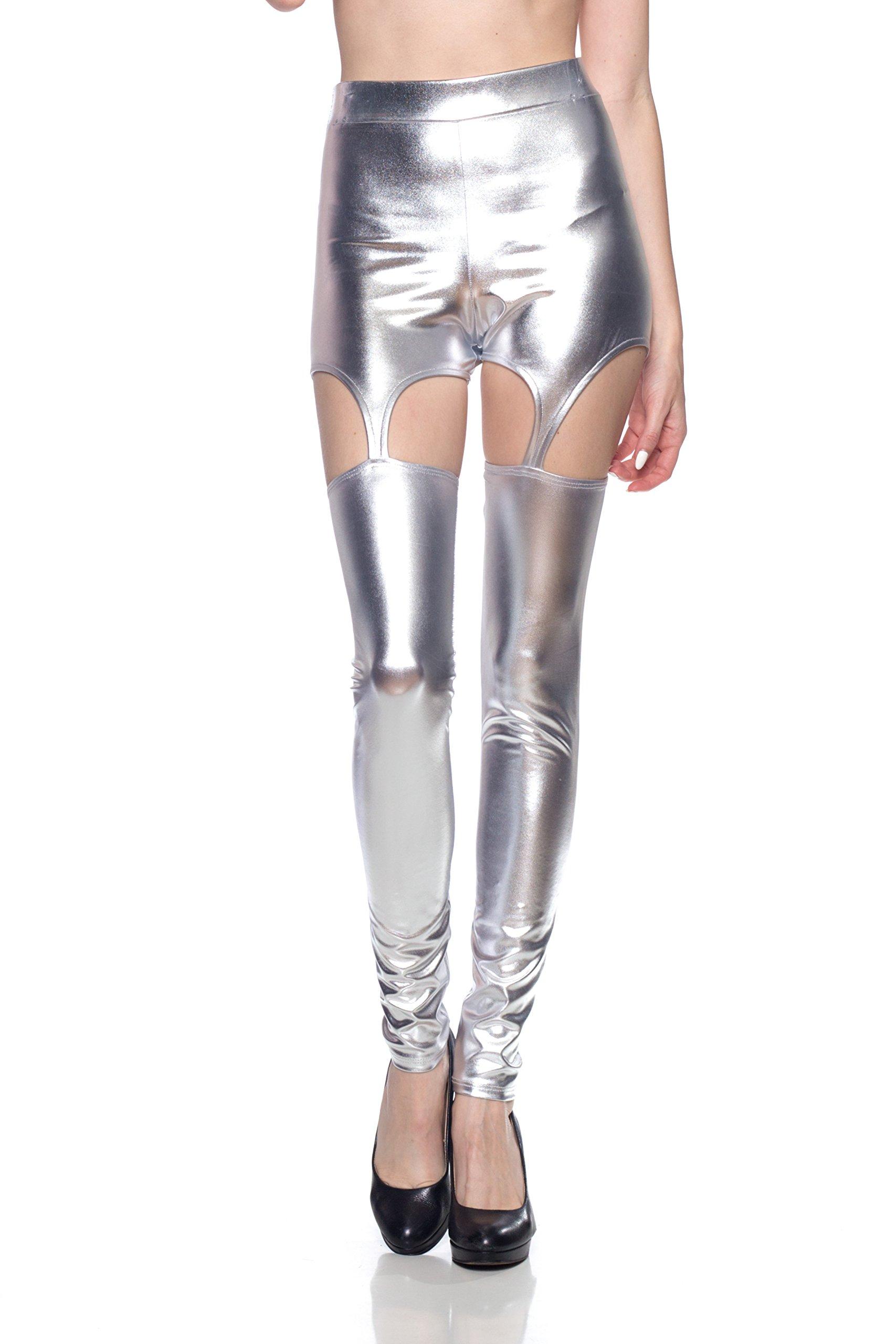 J2 Love Women's Faux Leather Garter Strap Cut Out Leggings, Large, Silver