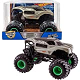 Hot Wheels Year 2017 Monster Jam 1:24 Scale Die Cast Metal Body Truck - ALIEN INVASION with Monster Tires, Working Suspension and 4 Wheel Steering
