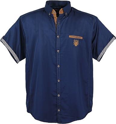 Lavecchia 1128 - Camisa de manga corta para hombre (tallas 3-7), color azul marino