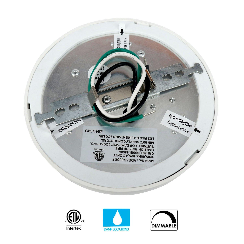 JULLISON 7 inch LED Slim Surface Mount Ceiling Light Fixture, 120V, 15W, 900LM, 3000K Warm White, CRI80, Driverless, ETL Certified, Damp Location, White - Round, 1 Pack by JULLISON (Image #3)
