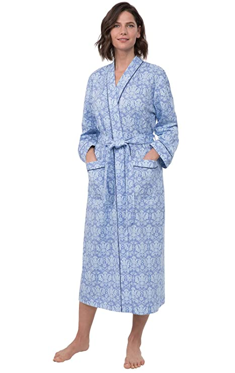 PajamaGram Printed Knit Bathrobe Womens - Womens Long Robes, Blue, M/L, 8-14 best women's bathrobes