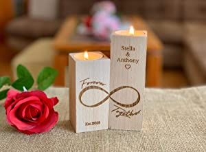 Personalized Wooden Candle Holder Love Infinity Heart Gift for Couples Wedding Candles Tealight Est. Save the Date Home Decor Established Custom Engraved 2 Names Wood Anniversary Table Centerpiece