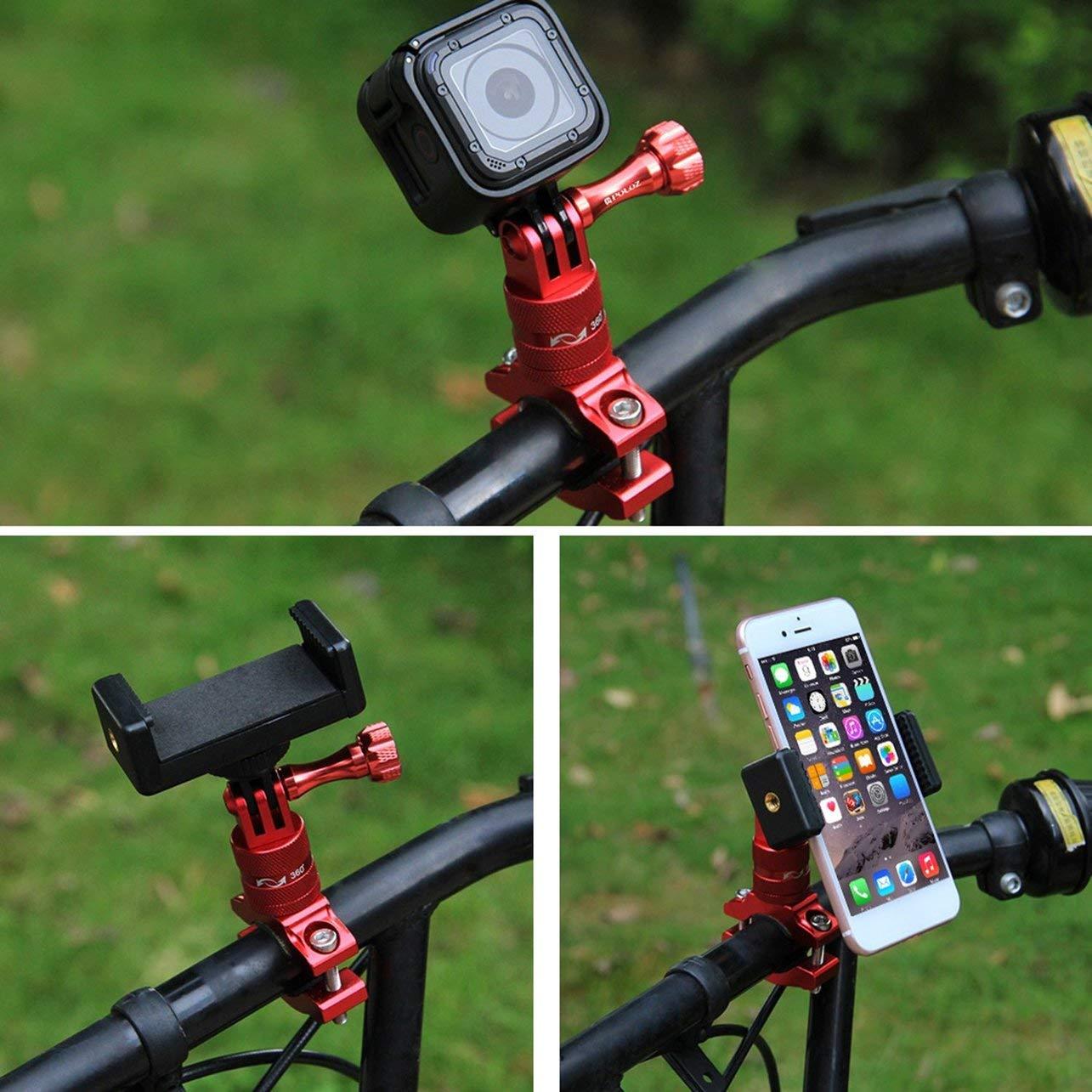 WOSOSYEYO PULUZ PU223R Soporte de Adaptador de Manillar de aleaci/ón de Aluminio para Bicicleta de rotaci/ón de 360 Grados con Tornillo para Accesorios de c/ámara Deportiva GoPro