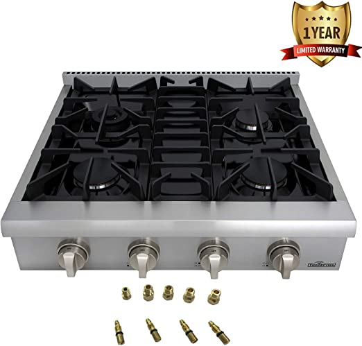 Thor Kitchen Silver 36 Pro-Style Gas Range Rangetop Cover Gas Stove Top Cooker Cooktop with 6 Burners 2-Years-Warranty with LP Conversion Kit
