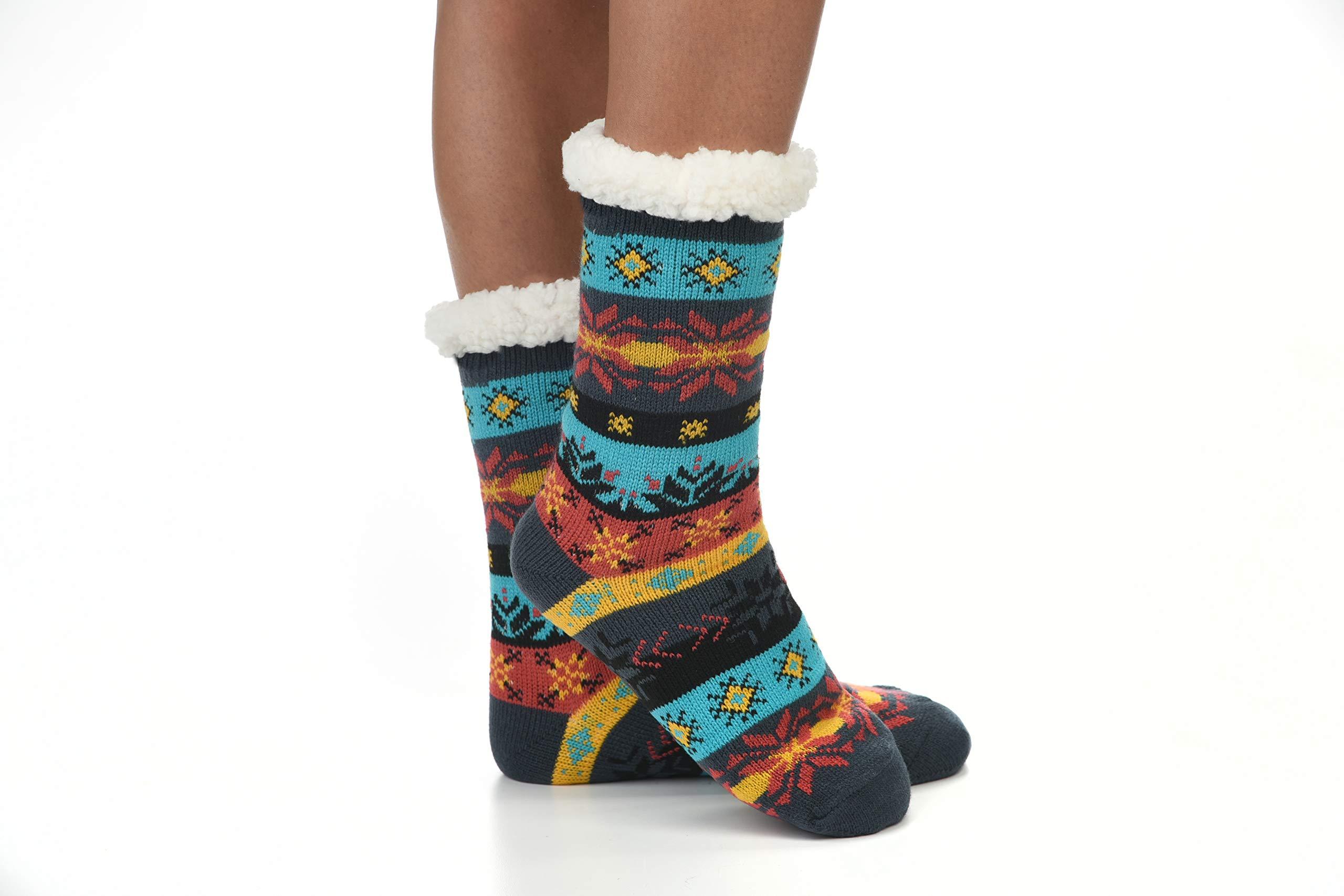 Snoozies Womens Sherpa Lined Knit Festive Winter Fleece Slipper Socks Size 5-10, Teal