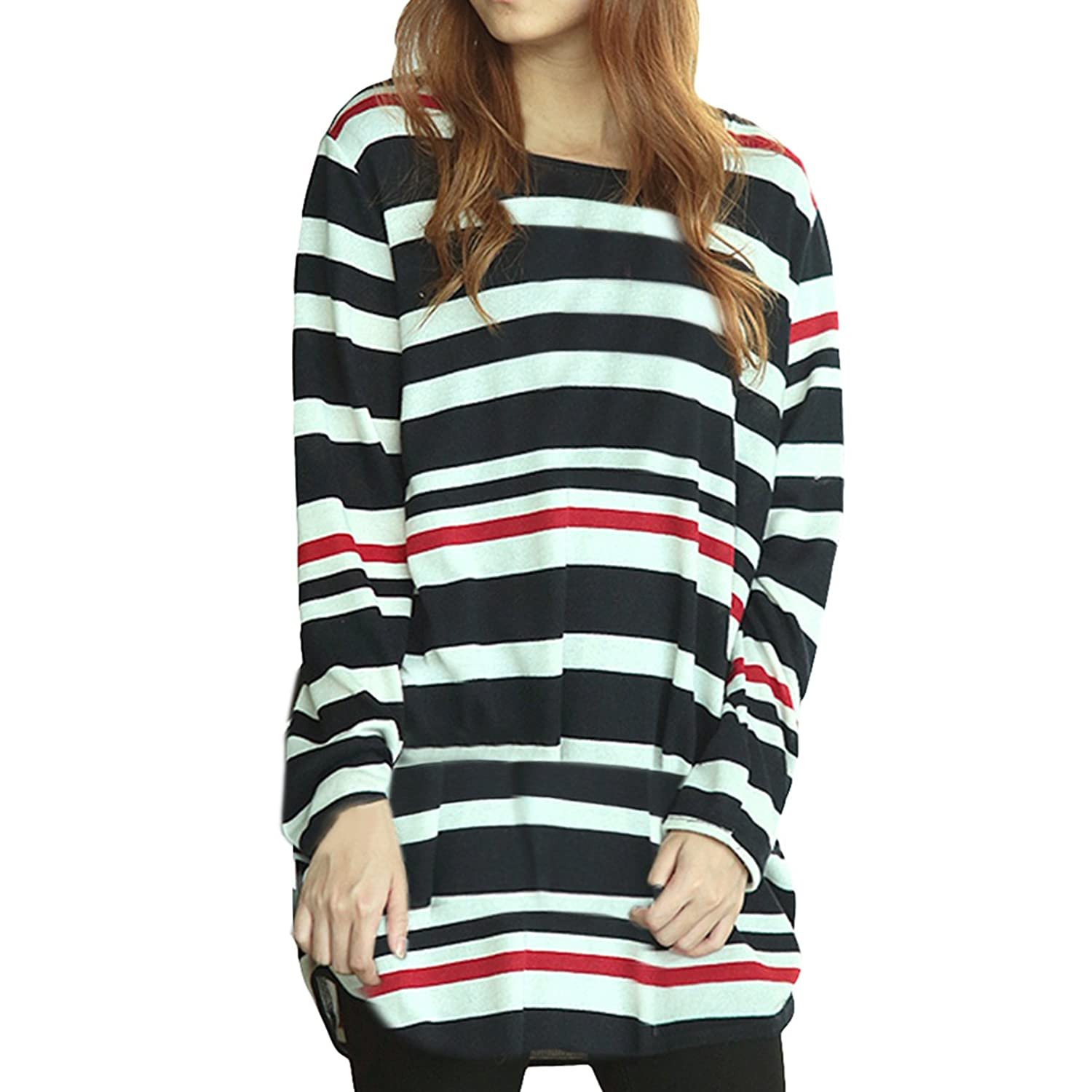 E.JAN1ST Women's Pullover Sweater Long Sleeve Crewneck Patterned Knit Tops Shirts