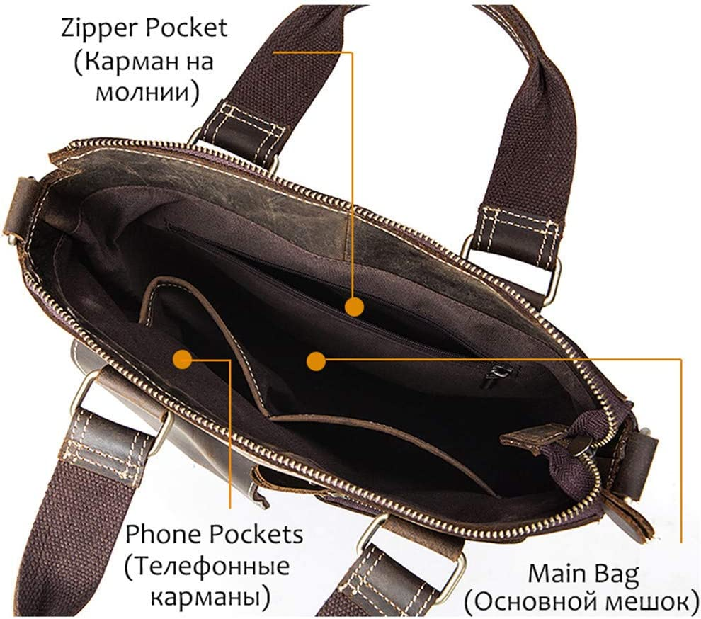 Crossbody Bags Men Handbags Fashion Crazy Horse Leather Casual Tote Shoulder Bag Handbag 7711B4Brown 32Cm