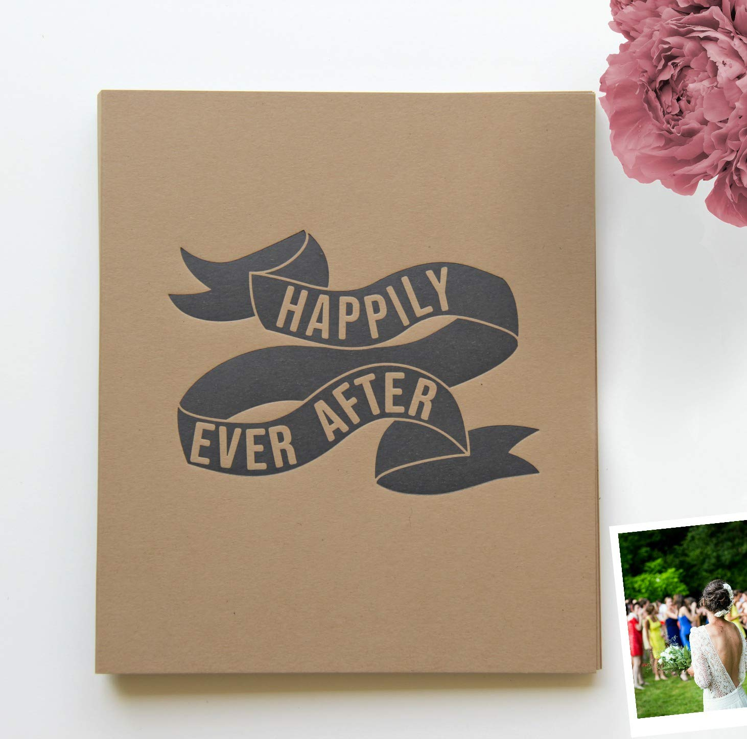 Wedding Guest Book Rustic Guestbook Alternative   130 pgs   Photo Booth Album   For Wedding Advice Cards, Date Idea Cards, Rustic Wedding Guest Book Photo Guest Book Outdoor Wedding Decorations,Kraft