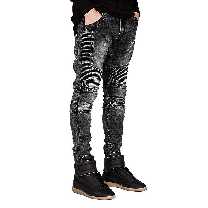 08bdb87e795d Coac3 Men Runway Slim Racer Biker Jeans Fashion Hiphop Skinny Jeans Black 29