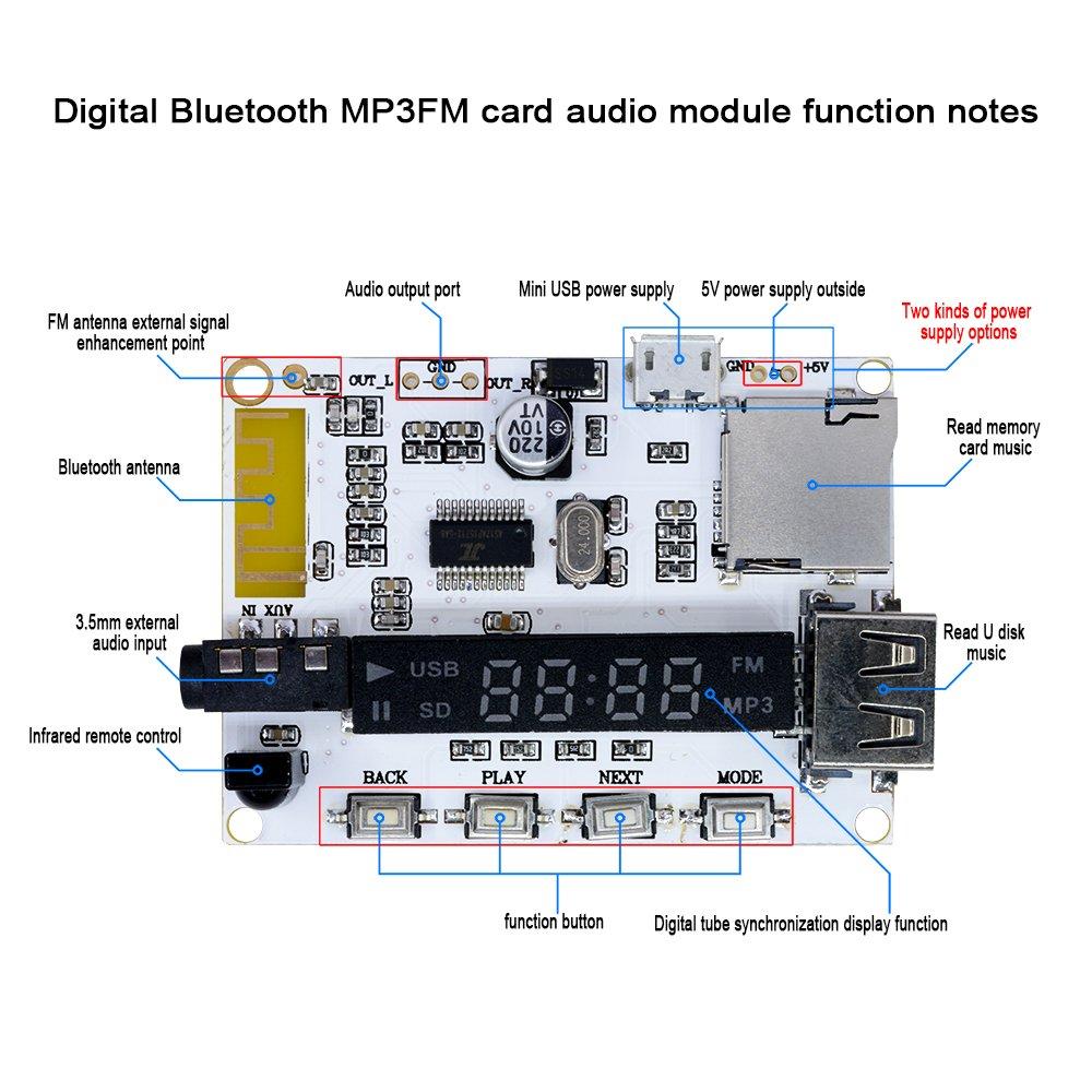 Diymore Bluetooth sans fil Digital Audio d/écodeur r/écepteur module transmetteur de musique avec t/él/écommande IR pour Arduino FM Lecteur MP3 TF carte SD