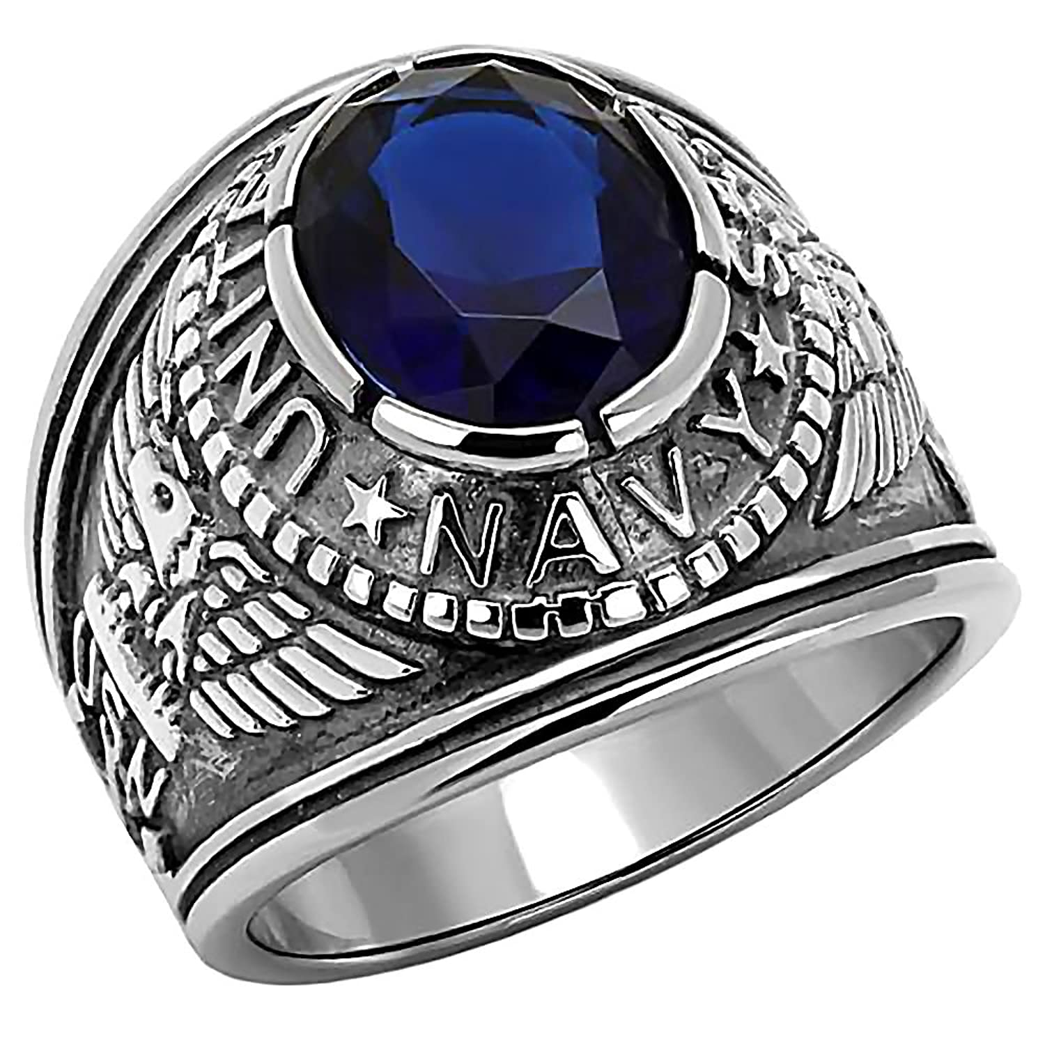 Navy: Mens 5.0ct Simulated Sapphire USA Navy Military Signet Ring 316 Stainless Steel, 3061