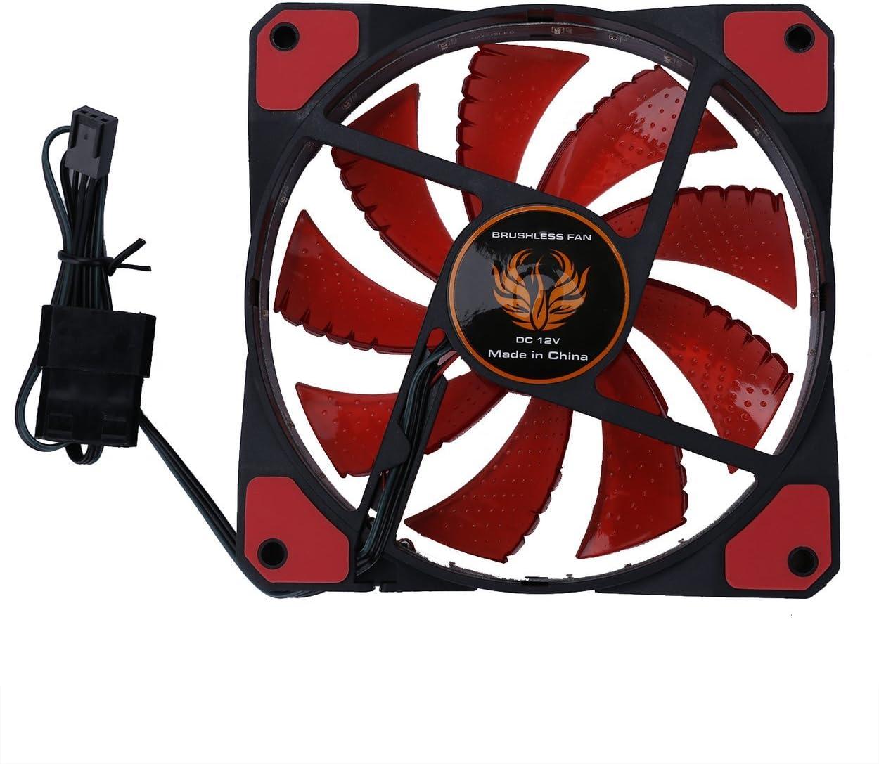 Lorenlli Ventilador de Caja de PC de computadora Ultra silenciosa de 120mm LED 15 Leds 12V con Ventilador silencioso Molex Conector Fácil Instalado Ventilador