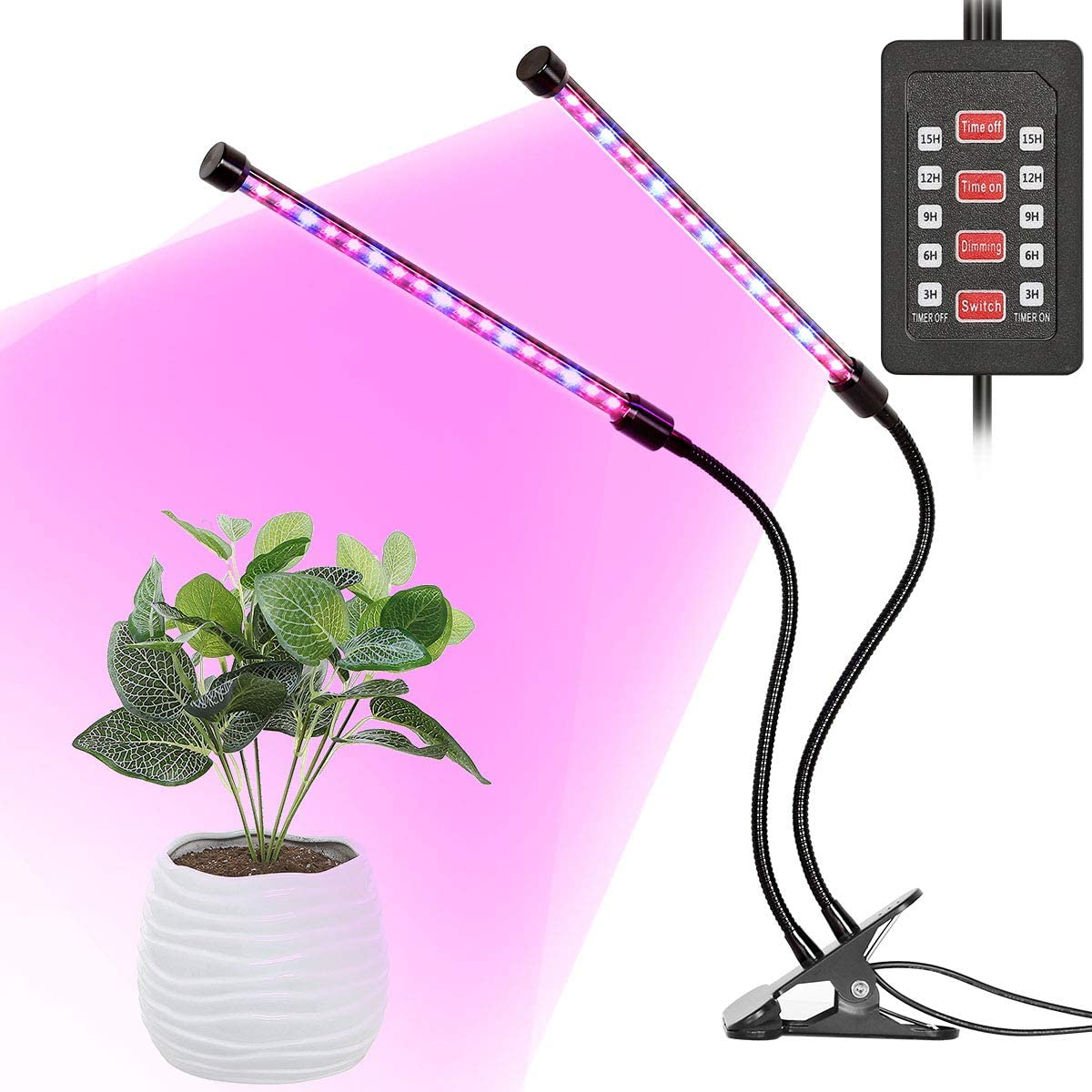 INKERSCOOP LED Grow Light, Upgraded Grow Lamp Auto ON Off 18W 36 LED Dual Head 3-6-9-12-15 Timer 5 Dimmable Levels Plant Growing Lights 3 Light Spectrum Switching Blue Red RED Blue Light