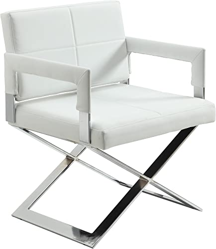 Chintaly Imports Oversized X Base Arm Chair, Chrome White