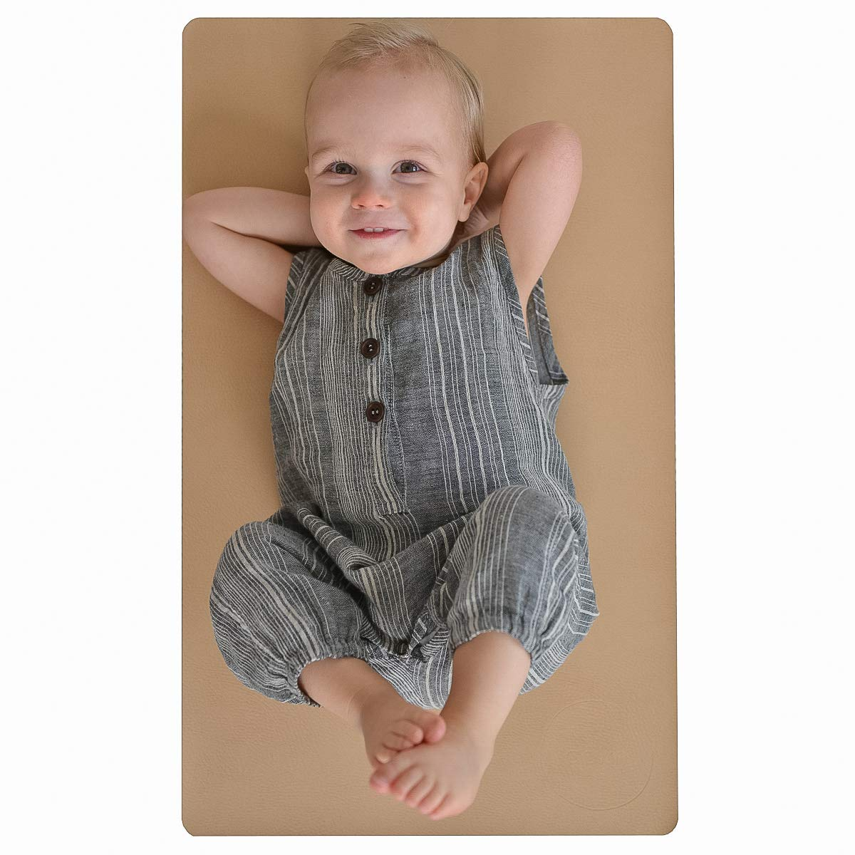 Leather Baby Diaper Changing Mat - Portable, Wipeable & Reusable Pad Liner - Large Size - Premium Quality by Cairn Co. by Cairn Co.