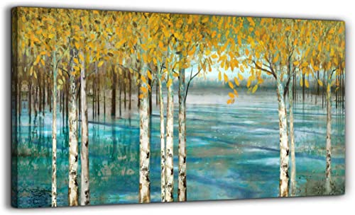 Large Living Room Wall Decor Abstract Canvas Wall Art Yellow Trees White Birch Green Lake Landscape Painting Picture Giclee Print Framed Artwork Modern Home Bedroom Wall Decoration Ready to Hang 60X30
