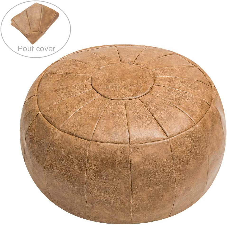 ROTOT Unstuffed Pouf Cover, Ottoman, Bean Bag Chair, Foot Stool, Foot Rest, Storage Solution or Wedding (Empty & New) (Amaretto)