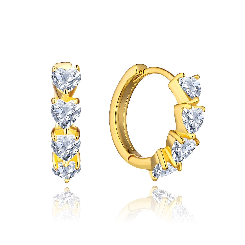 Jo Wisdom 14 K/10 Kゴールドフープイヤリングとハート型モアッサナイトダイヤモンドイヤリング(1 /5 cttw, HIカラー、SIクラリティ) B07CMTPXL7