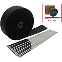 Black 1 x 50ft Fiberglass Exhaust Wrap with Stainless Steel Ties Stark Industries 11.8in Header Wrap Heat Shield Sleeve for Cars and Motorcycle