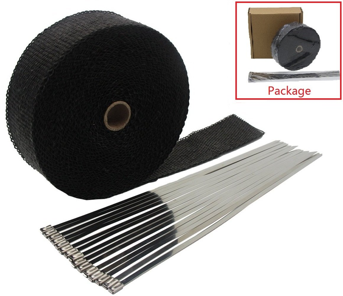 2''x50' Motorcycle Exhaust Heat Wrap Heat Shield Sleeve with Stainless Steel Zip Ties (Pack of 15) by Mukool