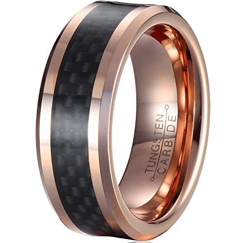 Mnh Tungsten Rings For Men Wedding Band 8mm Rose Gold Plated Black