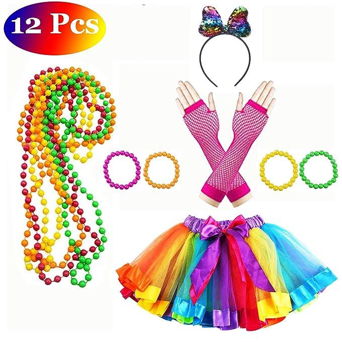 Neón party kit con falda tutú multicolor y diadema