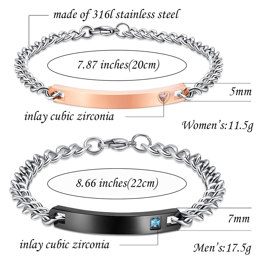 NEHZUS His and Hers Stainless Steel Personalized Bracelet Custom Engraving by NEHZUS (Image #6)