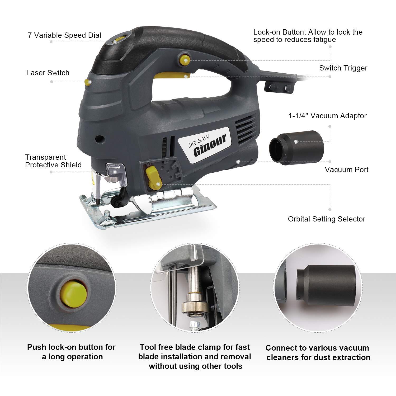 Scie sauteuse Ginour 800W 3000 RPM Scie sauteuse /électrique /à 7 vitesses tube /à vide parfait outil de menuiserie coupe double face 0 /°- 45 /° guidage laser 3 lames