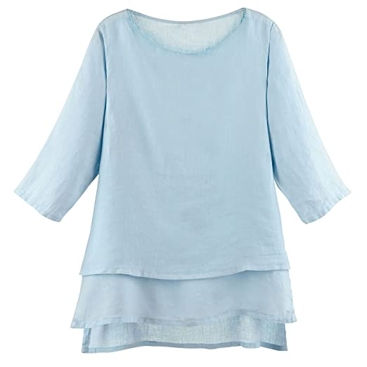 Match Point Women S Tunic Top Long Layered Linen Blouse With 3 4