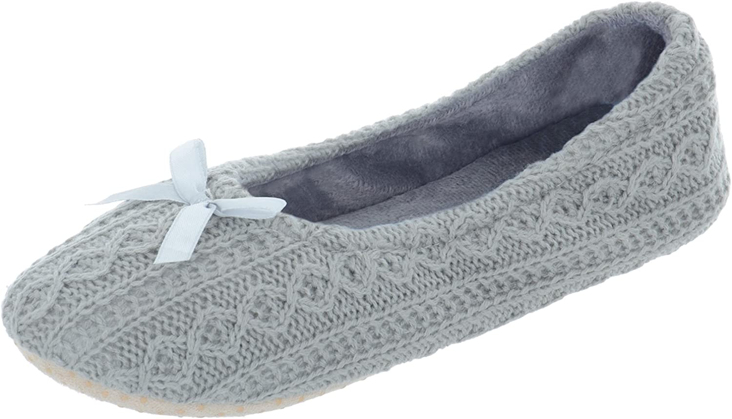 Ladies Fleece Lined Ballet Slippers With Bow