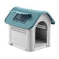 MEDIA WAVE store Cuccia casetta per Cani PROLABZOO 4567 oblò e Prese Aria 72 x 75,5 x 87 cm (Blu)