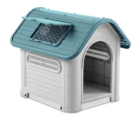 4567 Caseta en forma de casa para perro PROLABZOO con toma de aire 72x75X85CM - Azul