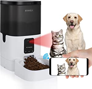 Automatic Pet Feeder with HD Camera for Dog or Cat 1080P WiFi 6L App Control ,Pet Food Dispenser with Night Vision & Live Video, Automatic Cat Feeder with Voice Recording & 2 Way Audio Communication
